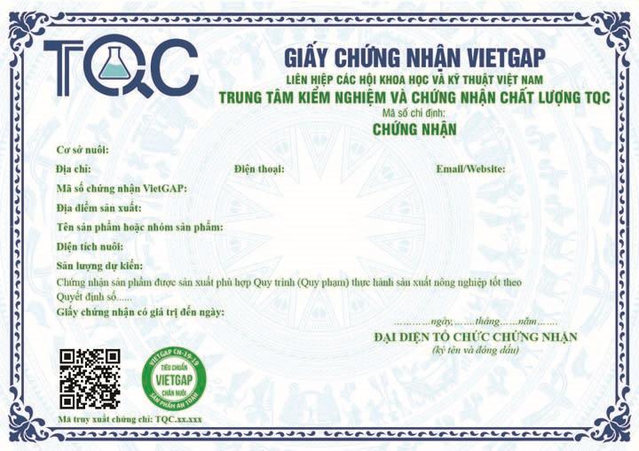 Trung tâm Kiểm nghiệm và Chứng nhận chất lượng TQC chính thức được chỉ đinh Chứng nhận VietGAP Chăn nuôi (VietGAHP)