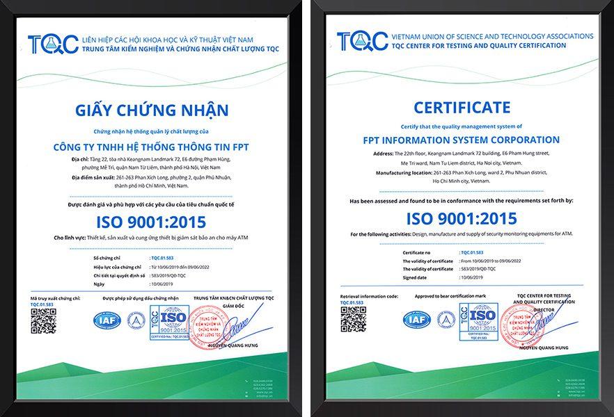 Giấy chứng nhận ISO 9001 Trung tâm TQC cấp cho FPT Information System