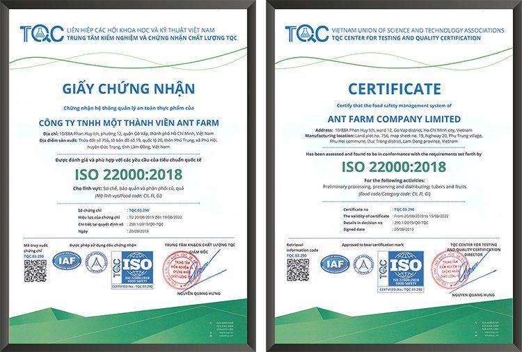 Trung tâm TQC chứng nhận hệ thống quản lý an toàn thực phẩm của Công ty TNHH MTV ANT FARM đạt tiêu chuẩn quốc tế ISO 22000:2018