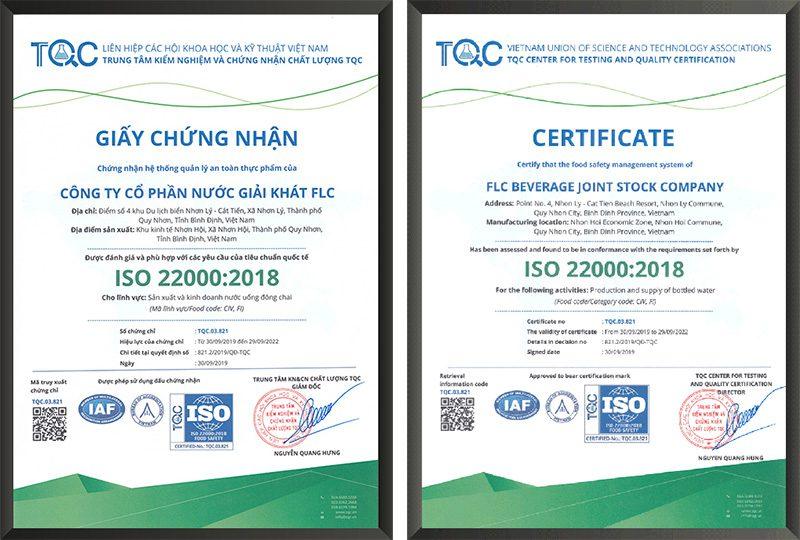 Trung tâm TQC cấp Giấy chứng nhận ISO 22000:2018 cho Công ty cổ phần nước giải khát FLC